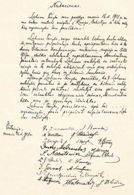 Käsitsi kirjutatud Leedu iseseisvusdeklaratsioon, mille originaal leiti üles Berliinist 2017. aastal. Foto ja allikas: https://commons.wikimedia.org/wiki/File:Original_Act_of_Independence_of_Lithuania_hand-written_in_Lithuanian_language.jpg