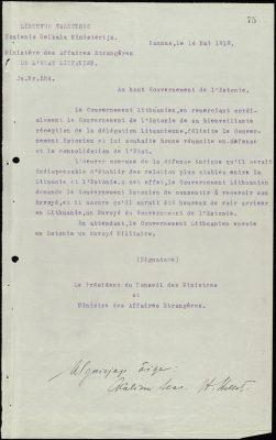 Leedu välisministeeriumi kiri Eesti valitsusele. Foto: Rahvusarhiiv
