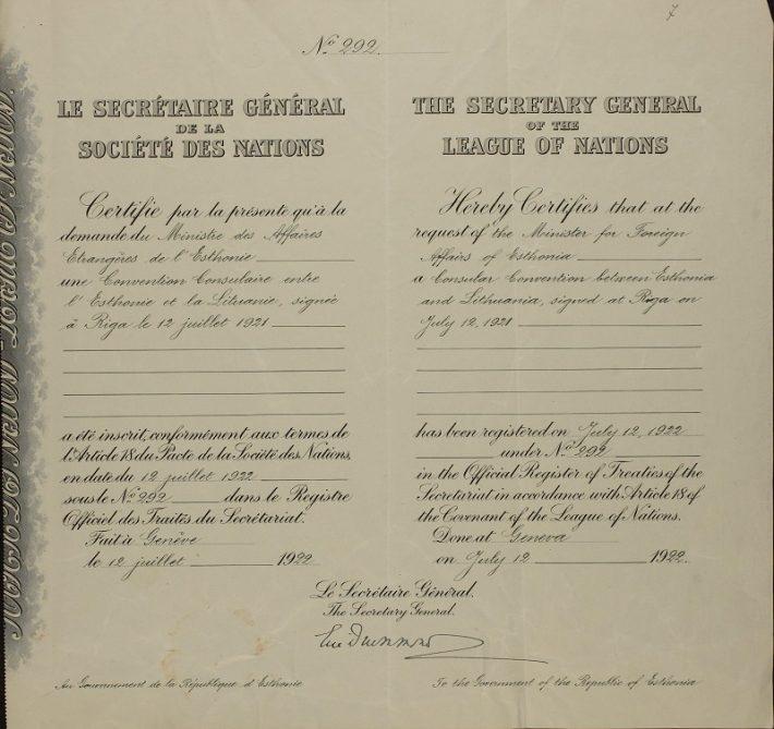 Konsulaarlepingu registreerimine Rahvasteliidus. Foto: Rahvusarhiiv