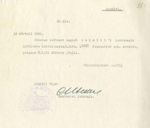 Dokument Torma ametisse nimetamise kohta. Foto: Rahvusarhiiv