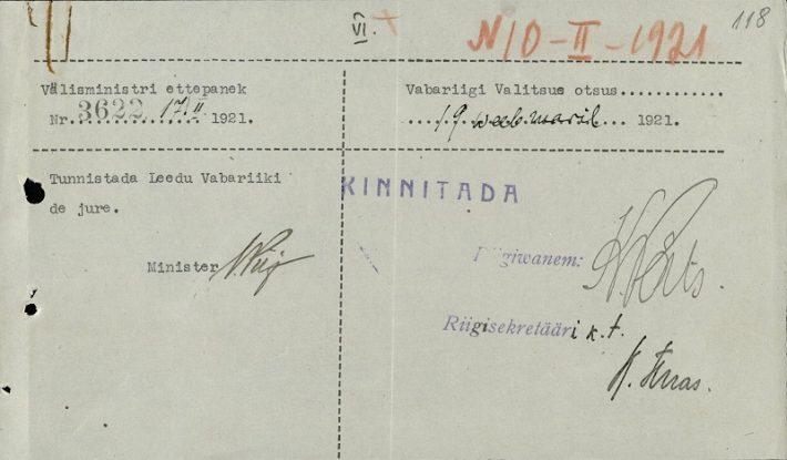 Leedu de jure tunnustamine. Foto: Rahvusarhiiv