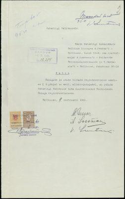 Taotlus Eesti-Leedu Ühingu registreerimiseks. Foto: https://dea.digar.ee/cgi-bin/dea?a=d&d=postimeesew19310215.2.11