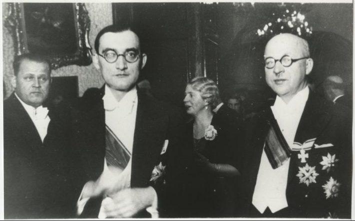 Välisminister Julius Seljamaa Leedu välisminister Stasys Lozoraitisega (vasakul) Balti riikide konverentsil Tallinnas 1934. aastal. Foto: Rahvusarhiiv