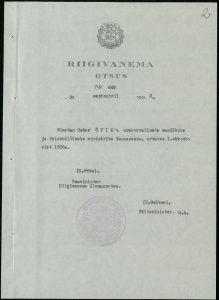 Riigivanema otsus Oskar Öpiku saadikuks määramise kohta. Foto: Rahvusarhiiv