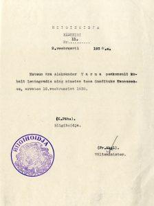 Aleksander Warma määramine saadikuks. Foto: Rahvusarhiiv